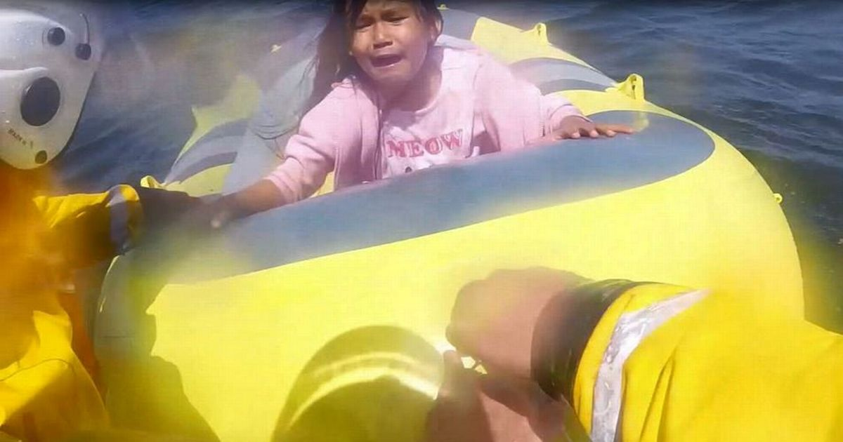 Terrified young girl rescued after her dinghy drifted out to sea