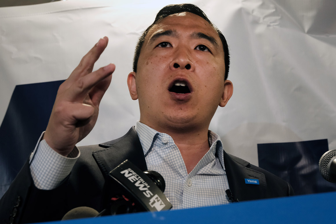 Yang chased by angry protesters during Brooklyn campaign stop