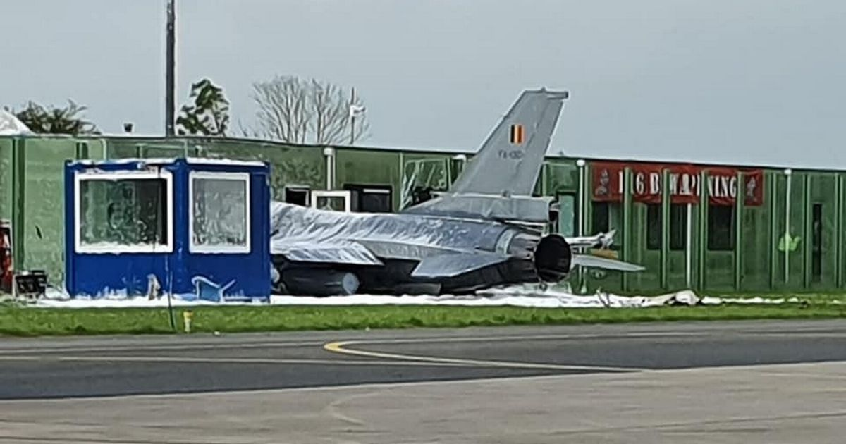 F16 fighter jet crashes into building after pilot loses control on runway