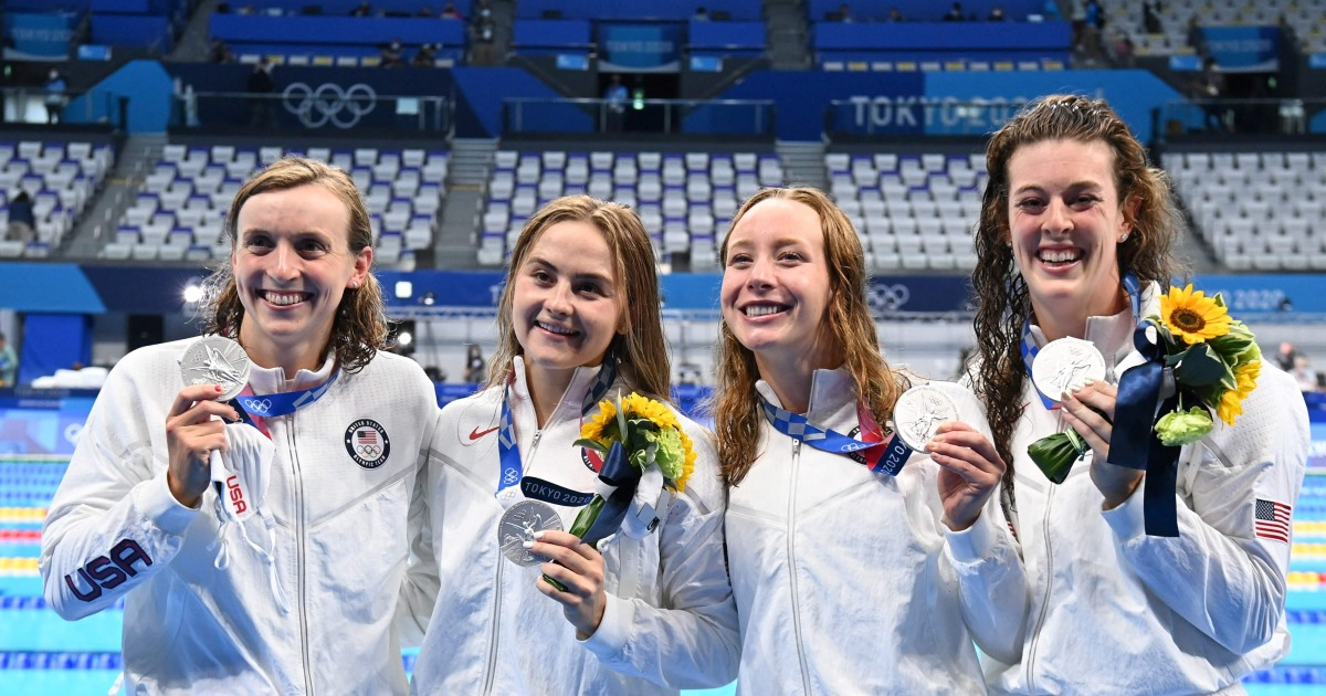 Katie Ledecky fuels furious comeback to power U.S. to silver in women's 4x200m relay