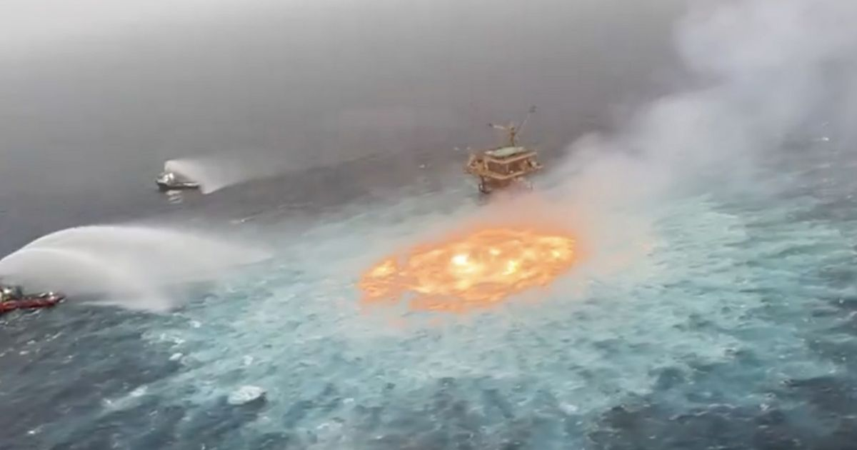 Ocean catches fire with 'sea of flames' after gas leak from underwater pipeline