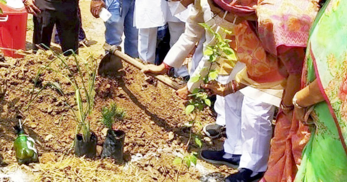 Shivraj Singh Chouhan, the chief minister of Madhya Pradesh state, plants the first sapling at the memorial park