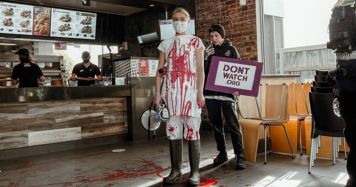 Vegan activist storms into KFC covered in blood branding diners 'animal abusers'