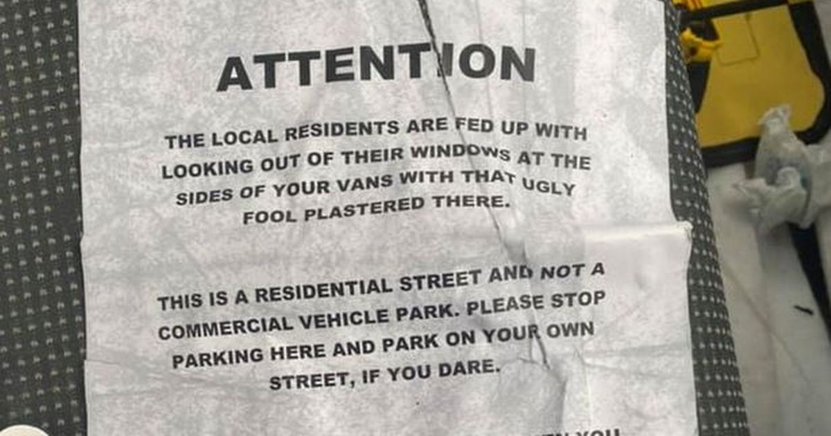 'Busybody' residents leave 'vicious' note on work van parked on street