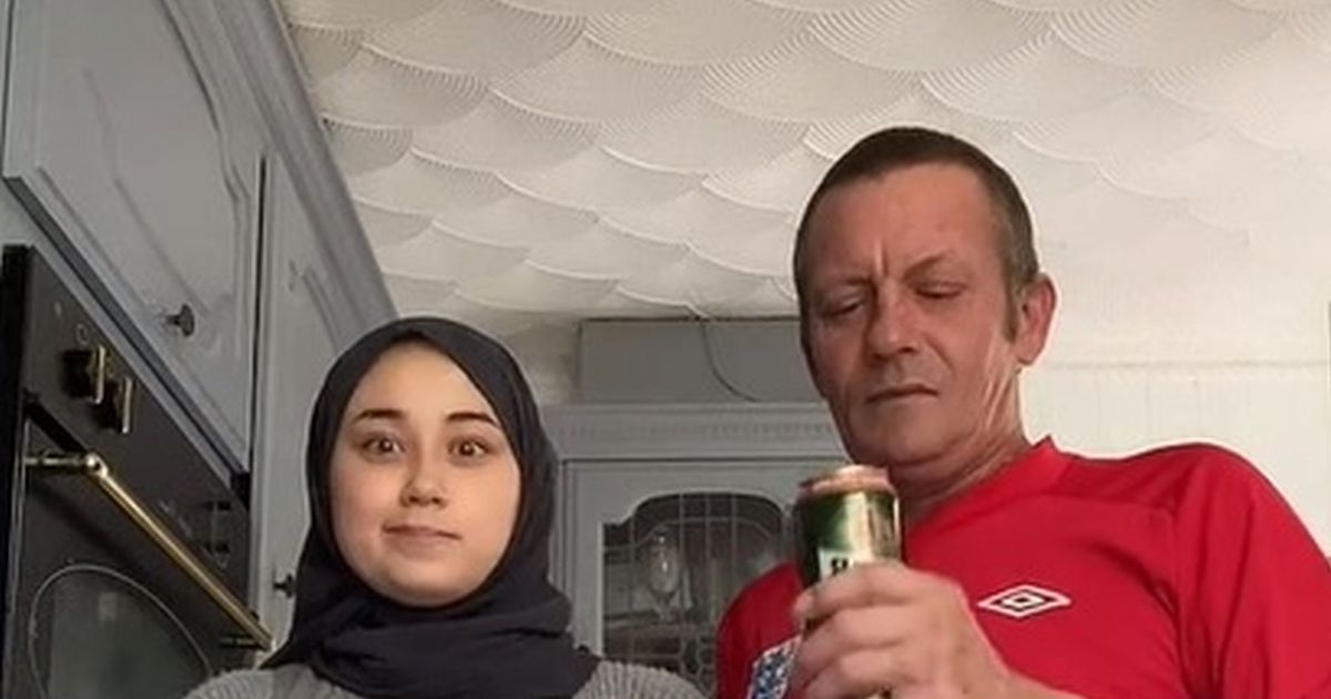 'Stereotypically English' beer-swilling dad and his Muslim daughter make fun of their differences