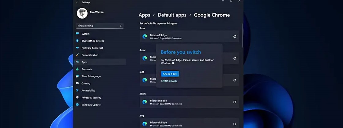 Microsoft Makes It Difficult To Switch From the Default Browser in Windows 11