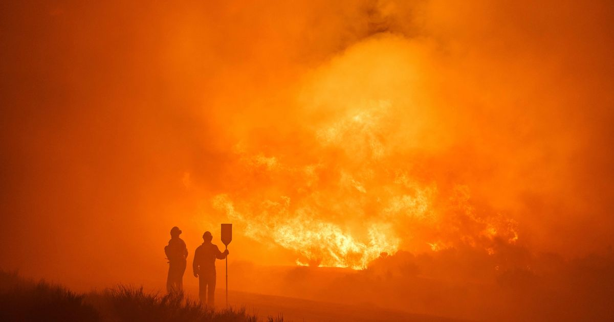 Firefighters working to control the fires in the Avila province