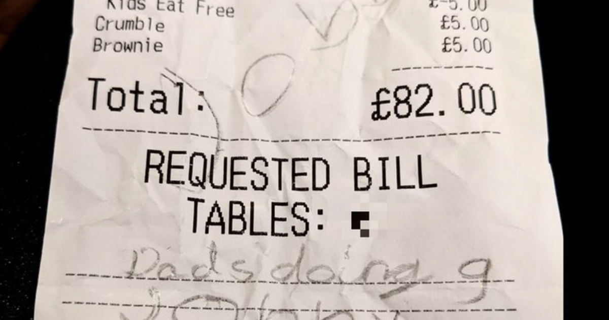 Bar staff left in fits of laughter after youngster leaves rude note on bill