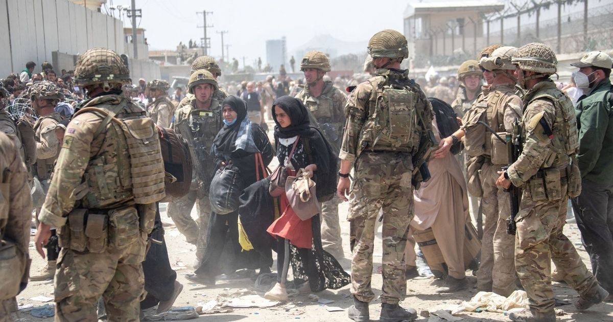 British Army personnel working at Kabul Airport in Afghanistan