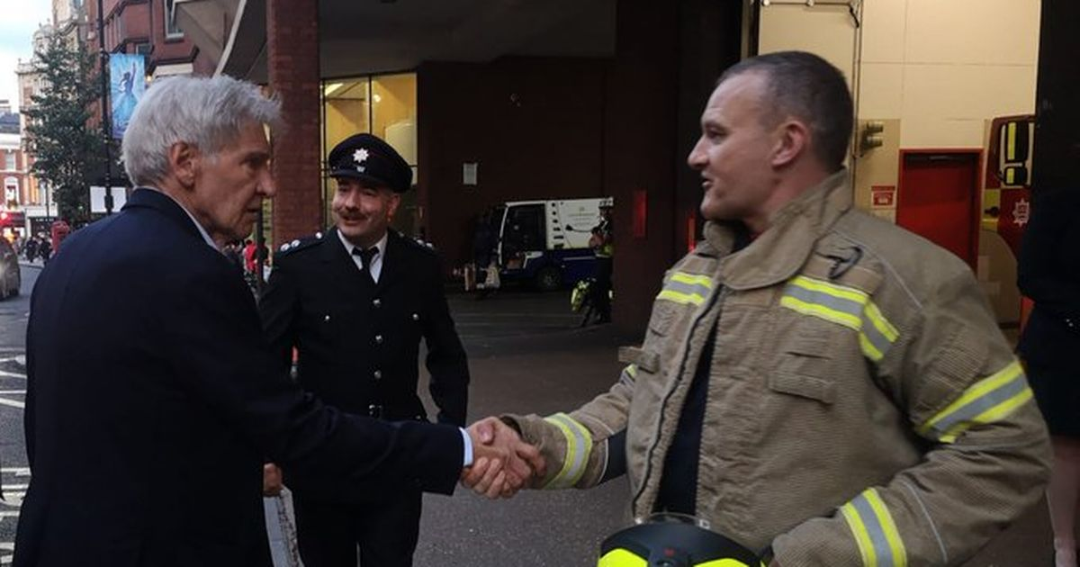 Indiana Jones star Harrison Ford is surprise guest as firefighters say farewell to retiring colleague