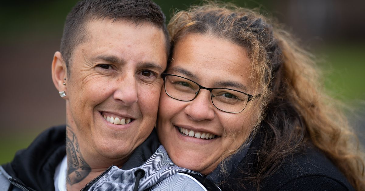 Lesbian couple torn apart by affair remarry as husband and wife
