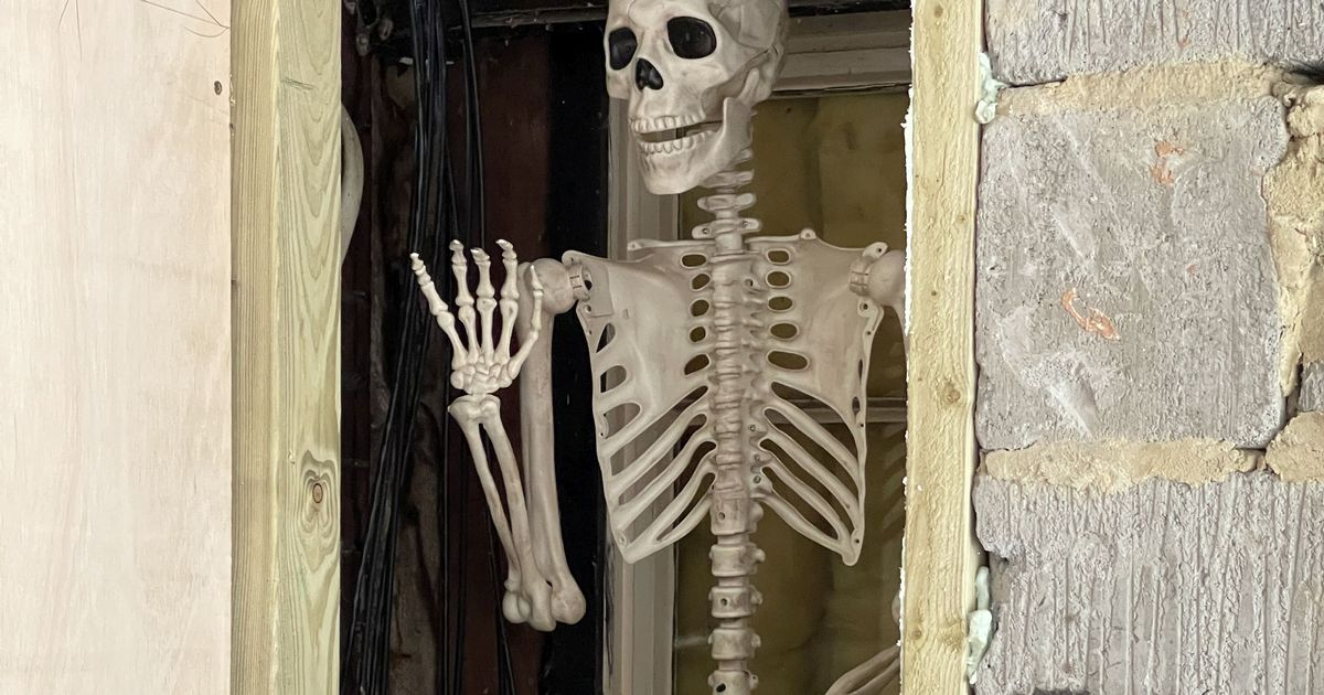 Mischievous mum entombs full-size skeleton in wall of house with 'hide and seek champ' note to terrify future residents