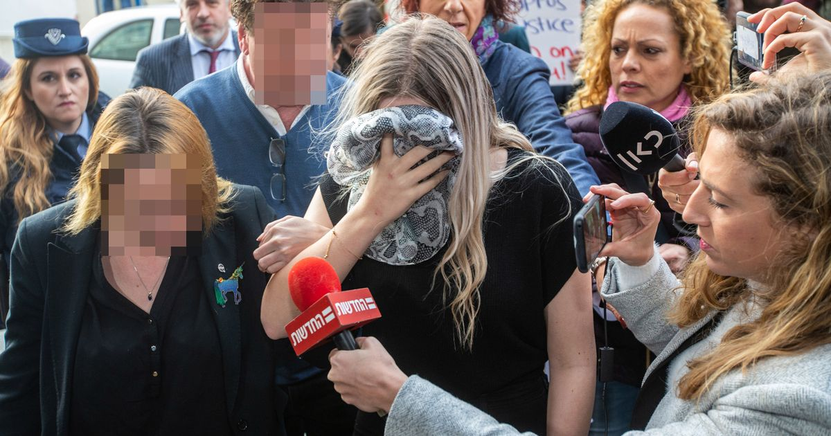 The then 19-year-old British girl arrives at Famagusta District Court in Paralimni for sentencing in 2020