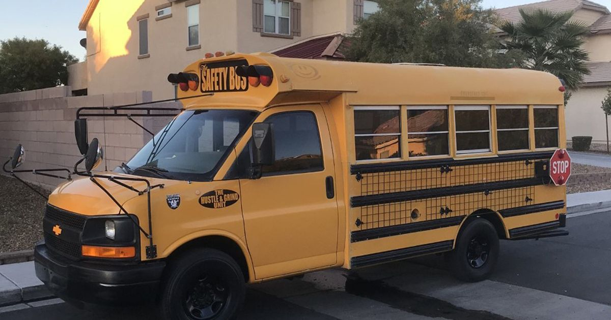 A couple have transformed a humble yellow school bus into a traveling holiday home for them and their seven children