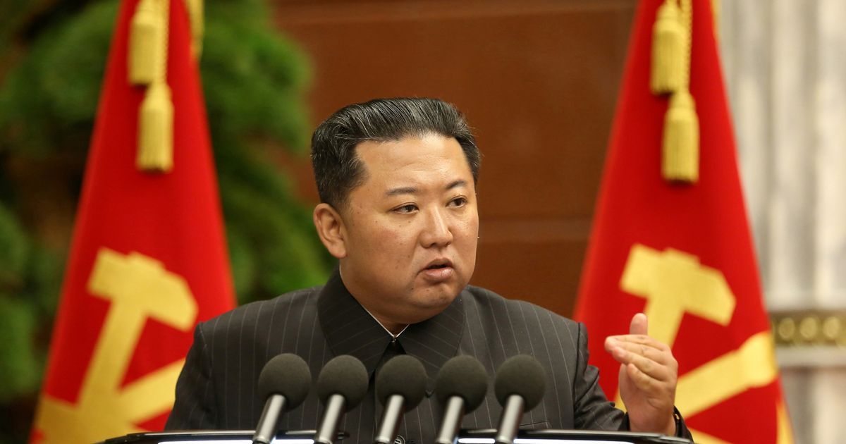 North Korean leader Kim Jong Un at a meeting of the political bureau of the 8th Central Committee of the Workers