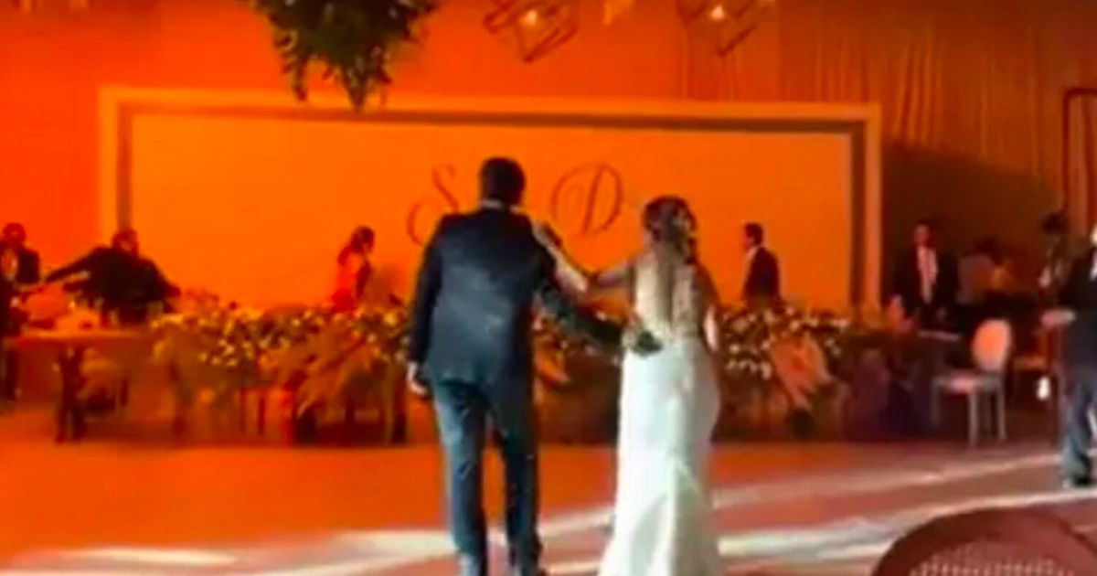 Weddings guests flee in terror as venue goes up in flames after first dance fireworks