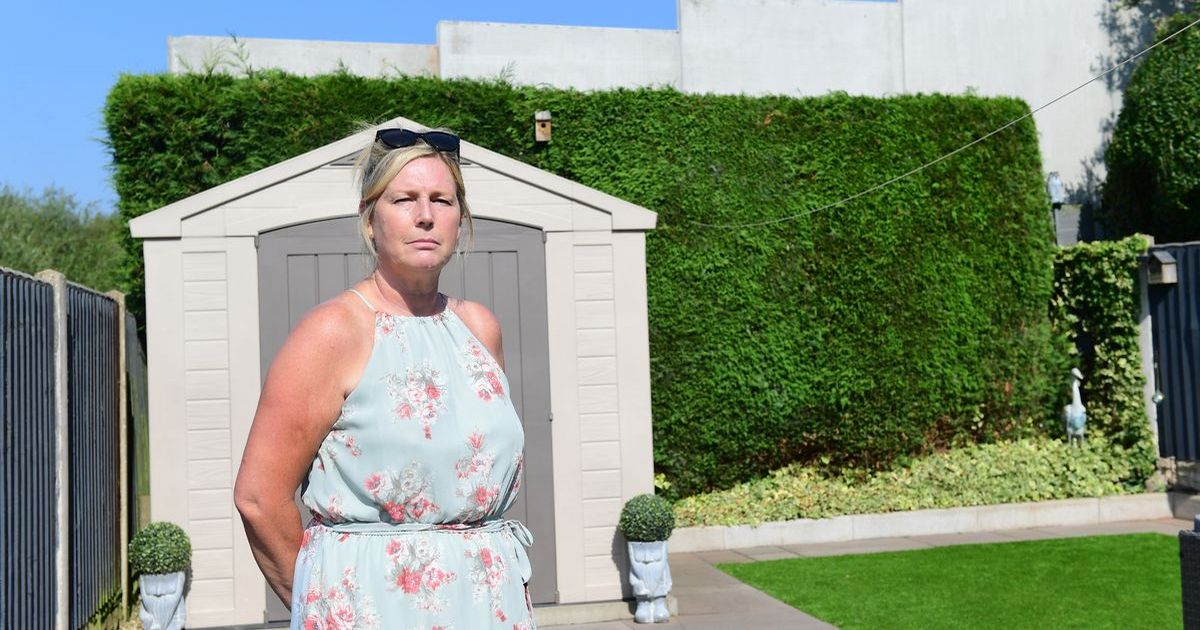 Woman comes home to find 20ft wall at end of her garden