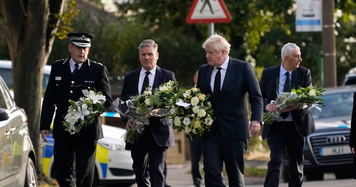 Boris Johnson and Labour leader Keir Starmer arrive in Leigh-on-Sea, Essex, to pay tribute to David Amess