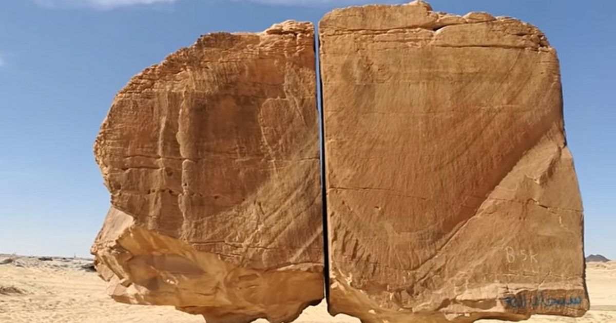 The rock measures 30ft tall and 25ft wide and is split down the middle