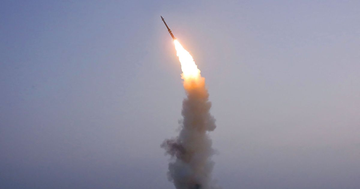 A rocket being fired