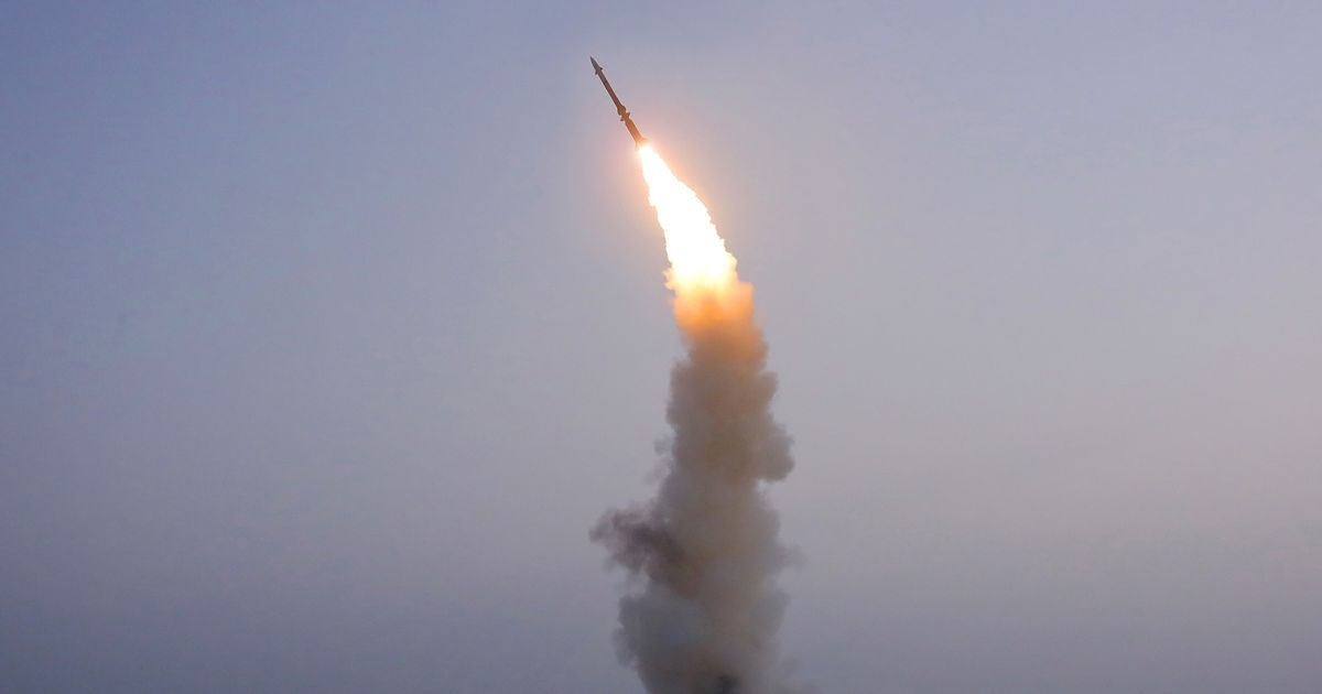 A newly developed anti-aircraft missile is seen during a test conducted by North Korea on Friday