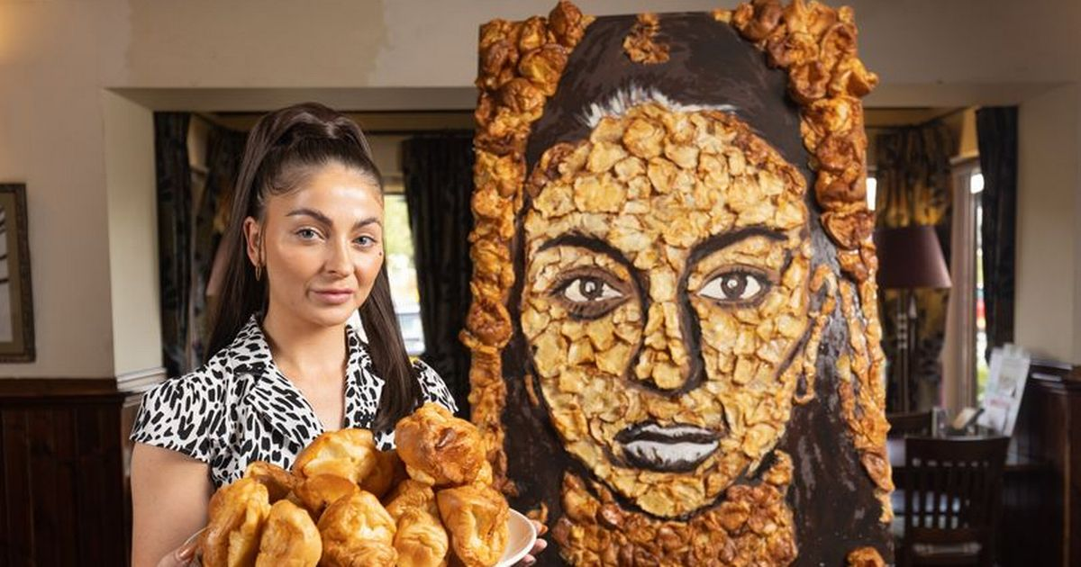 Pub landlady commissions self-portrait made entirely out of Yorkshire puddings