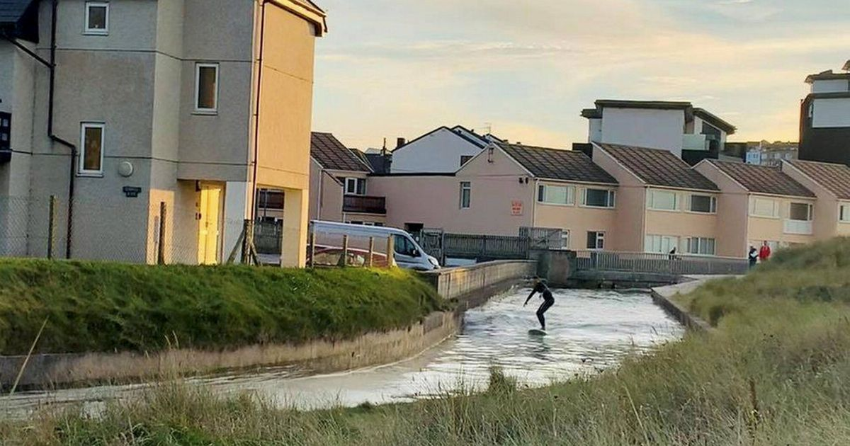 Surfer claims to have coolest commute after riding bore wave home from work