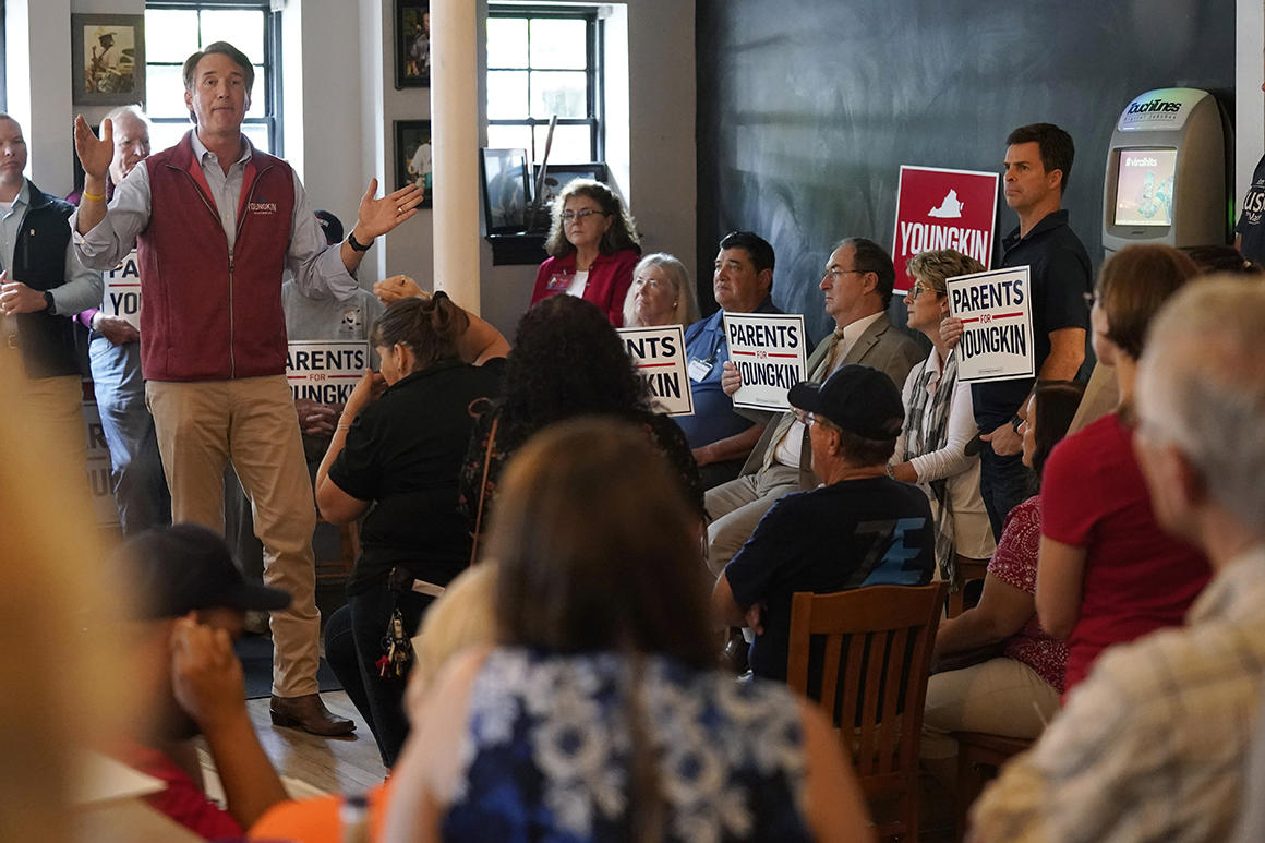 Youngkin tries to harness Virginia parent anger in possible '22 GOP preview