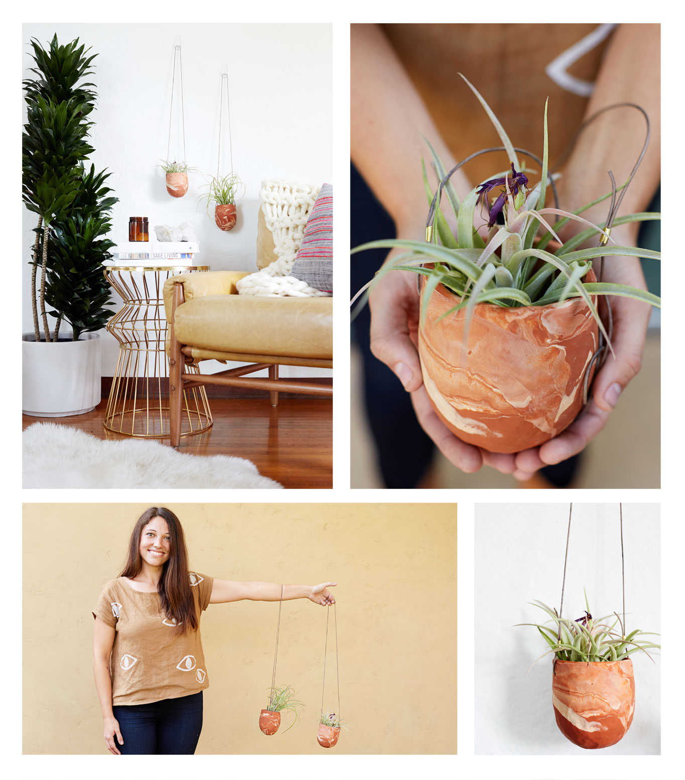 February 2016 Emily Reinhardt Marbled Clay Hanging Planters Video Thumbnail