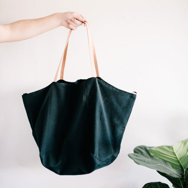 A Black Canvas & Leather Carry Everything Tote