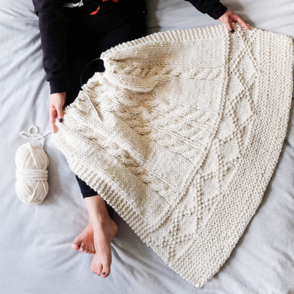 Cozy Knitted Blanket | January 2018 Add-On Kit | Alison Abbey