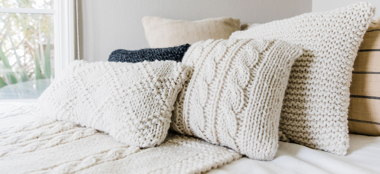 Cozy Knitted Pillows - Alison Abbey