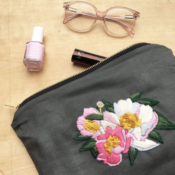 A Peony Embellished Pouch | Kristen Gula