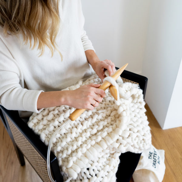 A Chunky Knit Lumbar Pillow Materials Kit | The Crafter's Box