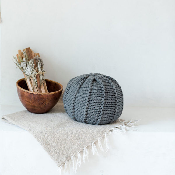 A Smoke Grey Knitted Pouf | The Crafter's Box