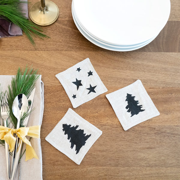 Flax Linen Holiday Coasters | The Crafter's Box