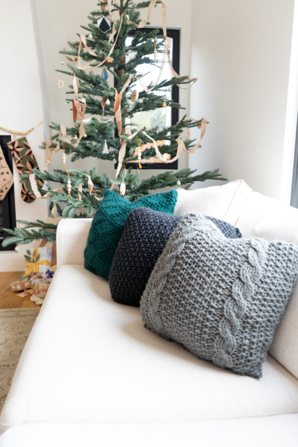 A Smoke Grey Cozy Knitted Pillow Materials Kit | The Crafter's Box