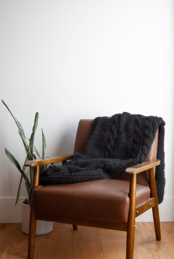A Black Cozy Knit Blanket Materials Kit | The Crafter's Box