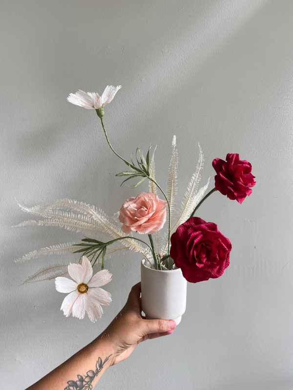 Everlasting Crepe Paper Florals & Palms | Garden Roses, Cosmos | Harley Rose, Sandra Gaestel | The Crafter's Box