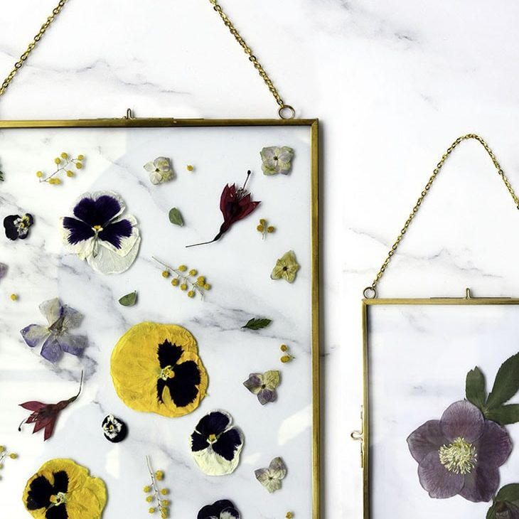 Antiqued Brass Float Frame | Pressed Florals | Karly Murphy