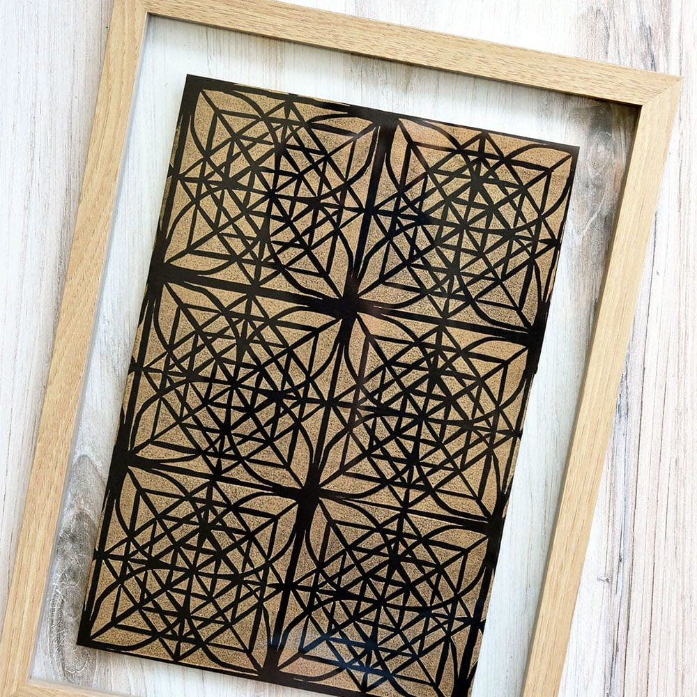Tiled Block Print with Gradation   Gold on Black Scarf   Mindy Schumacher   The Crafter's Box