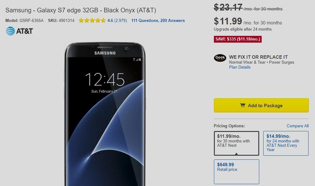 Samsung Galaxy S7 Edge Deal At T Now Available For Just 335 At Best Buy