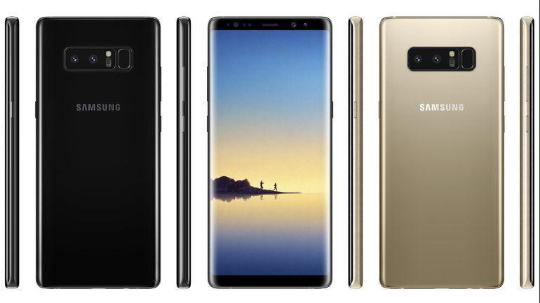 Samsung Galaxy Note 8 Front and Rear view of Gold and Black color models