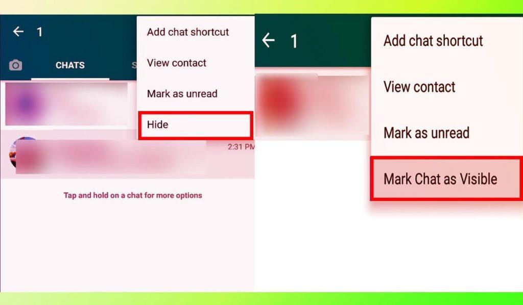 GB WhatsApp hide and mark chat as visible feature