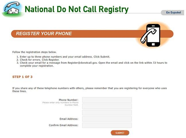 National Do not Call Registry service