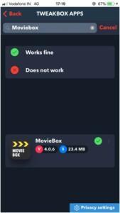 Search for MovieBox.