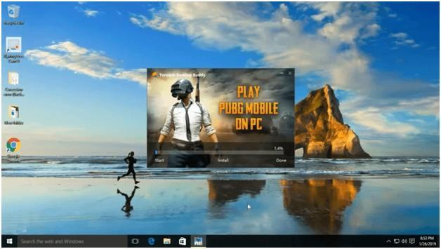 Tencent Gaming Buddy Installation completion click on START