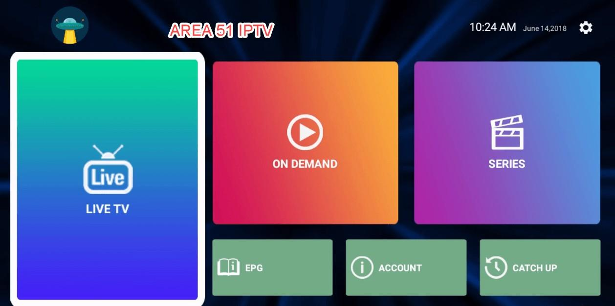 Area 51 IPTV Homescreen