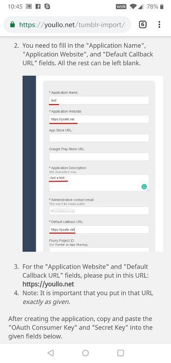 Youllo interface for Tumblr blogs import