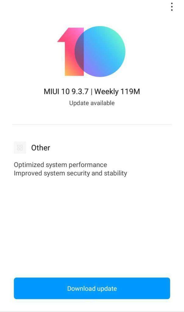 Redmi Note 7 MIUI 10 9.3.7 update